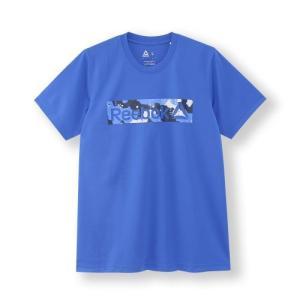 吸汗速乾性を備えたモックアイレットのグラフィックTシャツ。フロントにデザートカモのボックスロゴをプリ...