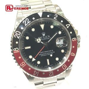 ROLEX ロレックス 16710 GMTマスターII 赤黒ベゼル 腕時計 シルバー メンズ 【中古】 reference