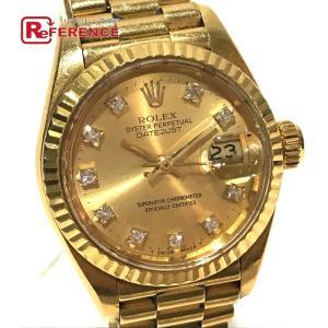 ROLEX ロレックス 69178G デイトジャスト オイスターパーペチュアル 10Pダイヤ 金無垢 腕時計 イエローゴールド レディース 【中古】|reference