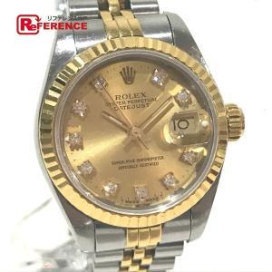 ROLEX ロレックス 69173G デイトジャスト オイスターパーペチュアル 10Pダイヤ デイト コンビ 腕時計 イエローゴールド レディース 【中古】|reference