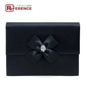 Yves Saint Laurent イヴサンローラン サテン リボン クラッチバッグ ブラック 中古|reference