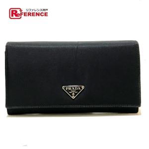 PRADA プラダ M608 ロゴプレート 長財布 二つ折り財布(小銭入れあり) ブラック レディース 【中古】|reference