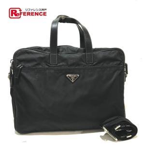 PRADA プラダ V407S ロゴプレート 2WAYバッグ ビジネスバッグ ブラック メンズ 【中古】|reference