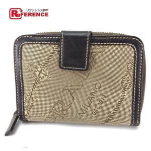 PRADA プラダ ロゴジャガード メンズ レディース 二つ折り財布(小銭入れあり) ベージュ レディース 【中古】|reference