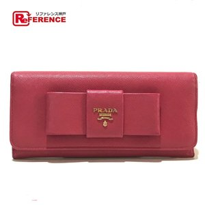 PRADA プラダ 1MH132 リボン フィオッコ 二つ折り財布(小銭入れあり) ピンク レディース 【中古】 reference