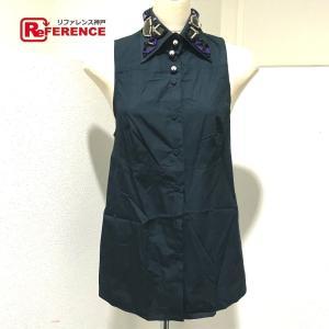PRADA プラダ ノースリーブシャツ ビジュー付き ネイビー レディース 【中古】|reference
