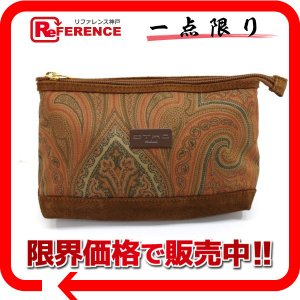 ETRO エトロ ペイズリー柄 キャンバス ポーチ ブラウン系 中古 reference