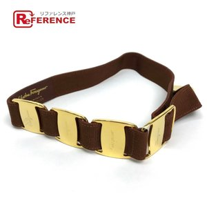 Ferragamo フェラガモ ヴァラ リボン ベルト ブラウン系/ゴールド金具 中古|reference