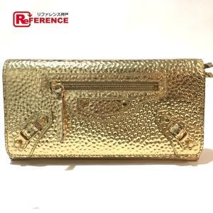 BALENCIAGA バレンシアガ 532244 クラシック・コンチネンタル 長財布(小銭入れあり) ゴールド レディース 【中古】|reference