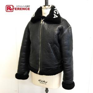 BALENCIAGA バレンシアガ ロゴカラーボアムートンレザーシアリングボンバージャケット ブルゾン ブラック メンズ 【中古】|reference