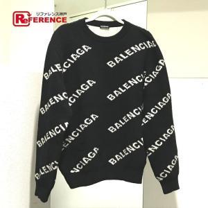 BALENCIAGA バレンシアガ 555481 ロゴ プルオーバー タグ有り セーター ブラック×ホワイト メンズ 【中古】|reference