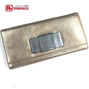 MIUMIU ミュウミュウ 5M1109  リボン 長財布(小銭入れあり) SAHARA(サハラ) ゴールド レディース 【中古】|reference