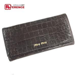 MIUMIU ミュウミュウ クロコ型押し 2つ折り長財布 ブラック 5M1109 中古|reference