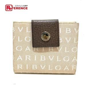 BVLGARI ブルガリ 22242 Wホック ロゴマニア 二つ折り財布(小銭入れあり) ベージュ系×ブラウン メンズ 【中古】 reference