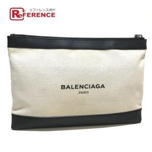 BALENCIAGA バレンシアガ 373834 ロゴ ネイビークラッチM ポーチバッグ クラッチバッグ ナチュラル×ブラック ユニセックス 【中古】|reference