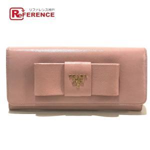 PRADA プラダ 1M1132 リボンモチーフ ロゴ 二つ折り財布(小銭入れあり) ORCHIDEA ピンクベージュ レディース 【中古】 reference