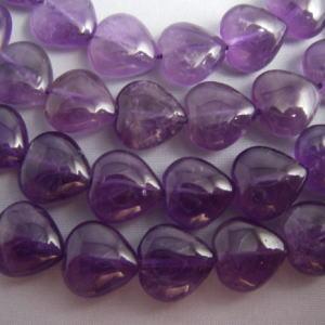 アメジスト(紫水晶)・ハート10mm・1個 天然石ビーズ|regalo-gemstone