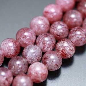ストロベリークオーツ・丸(ラウンド)・8mm 1個【天然石ビーズ】 regalo-gemstone