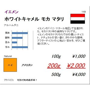 珈琲豆 同サイズ 3個まで同梱可 イエメン ホワイトキャメル モカマタリ アルハムダニ 100g|regalocoffee