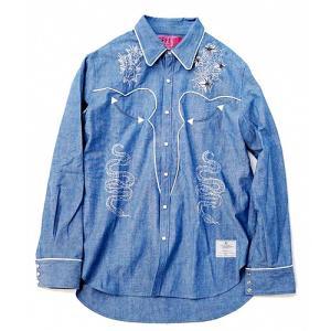 EFFECTEN(エフェクテン) Dungaree Western shirt ダンガリーウエスタンシャツ デニムシャツ タンガリーシャツ 刺繍シャツ|reggie