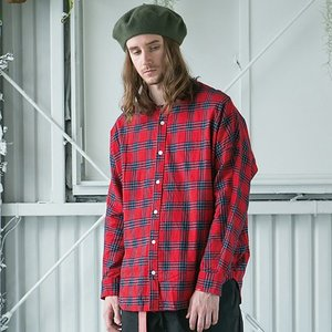 SAY セイ NO COLLAR DOLMAN CHECKED SHIRTS|reggie