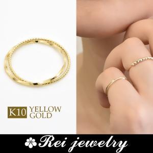 K10 ピンキーリング 指輪 レディース 2連 華奢 日本製 ゴールド 大人可愛い プレゼント  |rei-official