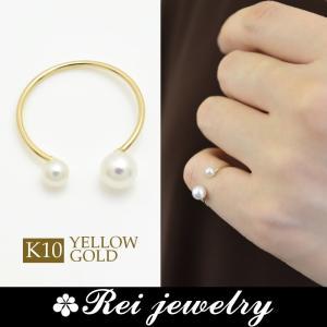 K10 ピンキーリング 指輪 パール レディース 華奢 日本製 ゴールド 大人可愛い プレゼント  |rei-official