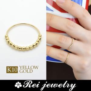 K10 ピンキーリング 指輪 ミラーボール レディース 華奢 日本製 ゴールド 大人可愛い プレゼント  |rei-official