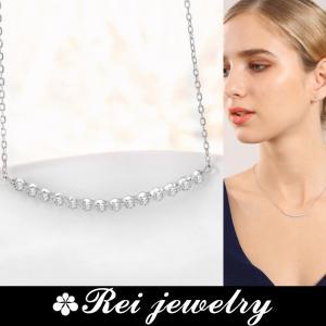 ネックレス レディース ライン カーブ バー シルバー CZ ダイヤモンド ジルコニア プレゼント ブランド |rei-official