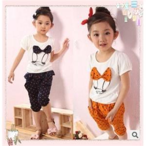 子供服キッズ/可愛いリボン♪Tシャツ・パンツ七分丈セット/カラー2色女の子