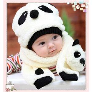 ★可愛いパンダ子供帽子マフラーセット♪★ ふわふわ柔らかい羊...