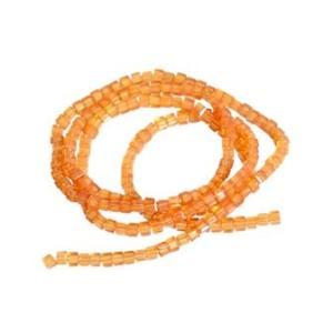 ミニミニキューブ型ガラスビーズ190個【ガラスビーズ】(オレンジ系カラー)小さな四角形の超ミニサイズ...