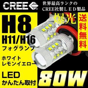 LEDフォグランプ H8/H11/H16 LED CREE 80W  白/ホワイト 送料無料
