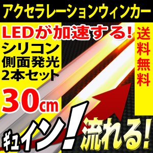 シリコン 流れるウインカー シーケンシャル 30cm 2本 LED テープライト 30発 側面 簡単取付 流星仕様 12V 送料無料 reiz
