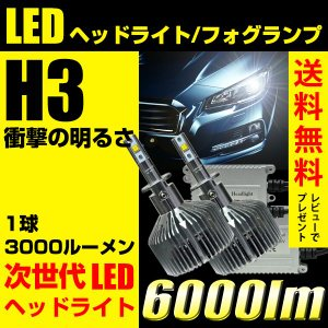 LED ヘッドライト フォグランプ H3 3000ルーメン 2球合計 6000lm 送料無料