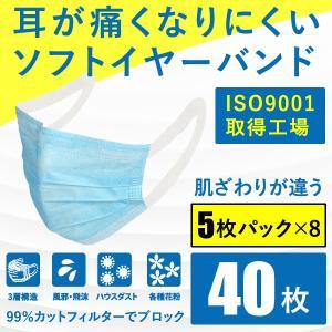 タイムセール1778円 マスク 在庫あり 40枚 5枚パック×8 耳が痛くなりにくい ソフトイヤーバ...