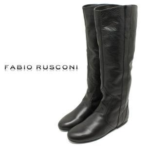 FabioRusconi ファビオルスコーニ  ライニングつきミドル丈ブーツ ブラックレザー (インヒール ロングブーツ フラットソール レディース) (98801)|relaaax