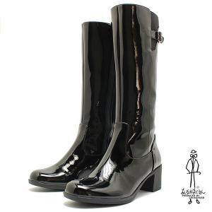 あしながおじさん ベルト付きエナメル・レインブーツ 1310001  ブラック レイン対応/エナメルショートブーツ /雨靴/長靴/あしながおじさん|relaaax
