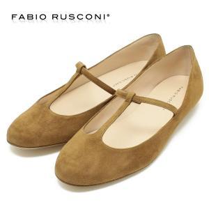 FabioRusconi ファビオルスコーニ Tストラップ カッターシューズ GAZZELLA(ブラウンスエード)(フラットシューズ バレエパンプス ローヒール イタリア製)|relaaax