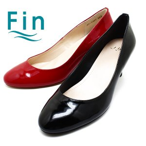 Fin/フィン 07-7907 エナメルラウンドトゥパンプス ブラックエナメル/レッドエナメル日本製/エナメル/パンプス relaaax