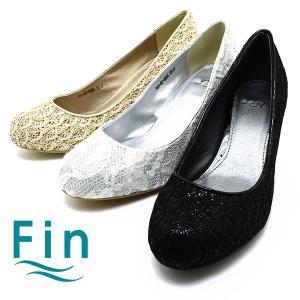 Fin/フィン 07-8203 レースラウンドトゥパンプス ブラック/ゴールド/シルバー日本製/レース/結婚式/パンプス relaaax