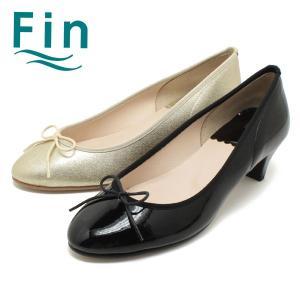 Fin/フィン 4.5cmヒール・リボンパンプス(ブラック/ゴールド) (大きいサイズ対応25cmまで) (07-7211) relaaax
