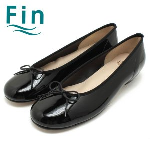 ■ポイント5倍■Fin/フィン 1.5cmヒール・リボン・エナメルバレエパンプス(ブラック) (02-7983)