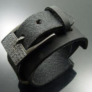 KENBLOOD ケンブラッド パヴェストーンシルバーバックル 4cm幅レザーブレスレット ブラック(KL-03) (メンズモデル)|relaaax