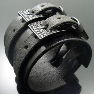 KENBLOOD ケンブラッド パヴェストーンシルバー ダブルバックル レザーブレスレット ブラック (KL-04) (メンズモデル)|relaaax