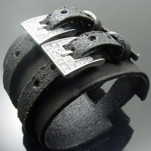 KENBLOOD ケンブラッド パヴェストーンシルバー ダブルバックル レザーブレスレット シルバー(KL-04) (メンズモデル)|relaaax