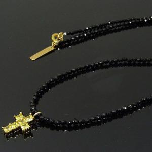 KENBLOOD ケンブラッド CZクロス&オニキスチェーン 2wayネックレス ブレスレット ブラック×ゴールド(KP-266) (メンズ レディース ユニセックスモデル