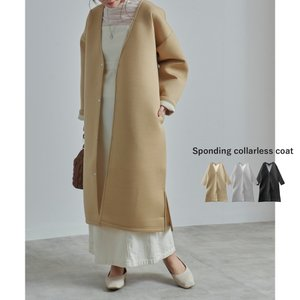 ノーカラーコート レディース ファッション ゆったり 大きいサイズ 30代 40代 スプリングコート...