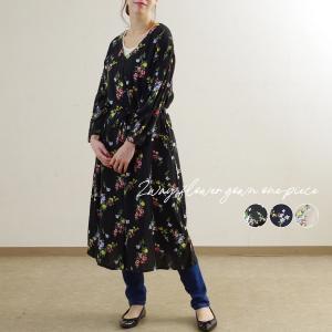 ワンピース レディース ファッション ゆったり 体型カバー 30代 40代 夏 ガウンワンピ 花柄 ...