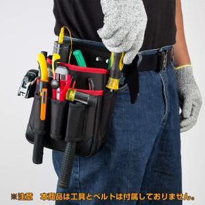 腰袋 2段 電工 工具袋 腰 工具入れ 工具差し付 ツールバッグ ポケット多数 (約)幅17cm×高...